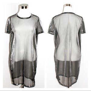 Metallic Mesh Short Sleeve Dress
